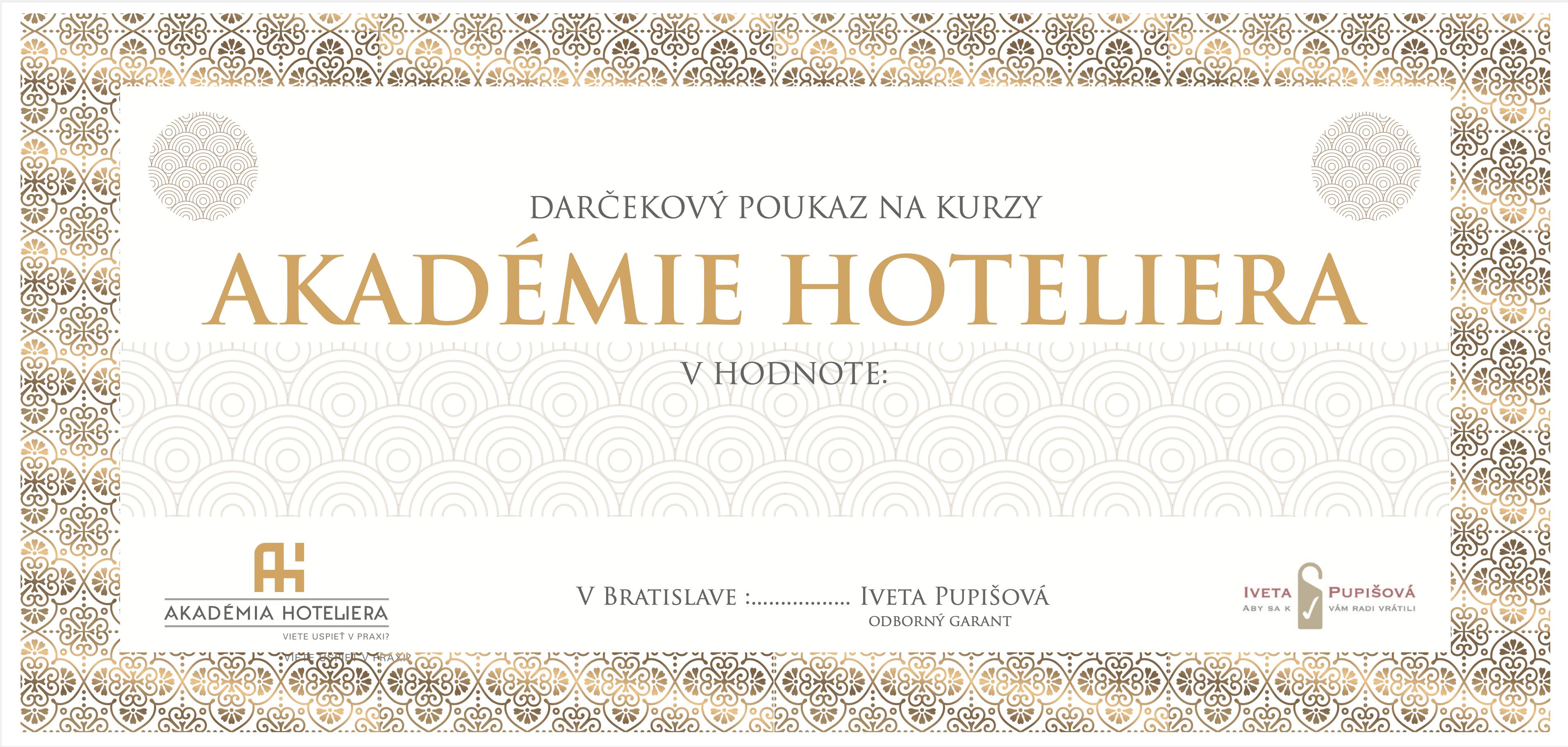 darčekový poukaz akadémia hoteliera